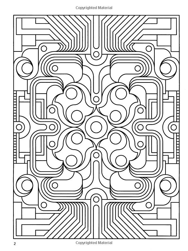 amazoncom deco tech geometric coloring book dover design coloring books
