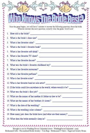 Who knows the bride best? Bridal shower games