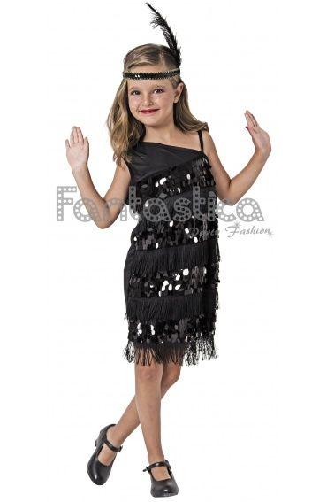 Disfraz para Niña Bailarina de Charleston Lentejuelas Negro. Disfraces de Carnaval para Niña.