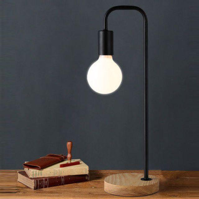 Wood Base Black Table Bedside Study Lamp Minimalist Minimal Scandinavian Industrial Loft Zen Mid Century Home Decor on Carousell