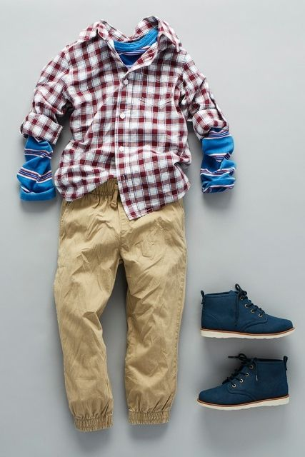 Boys Fashion Kids Clothes Back To School Outfit Plaid Button