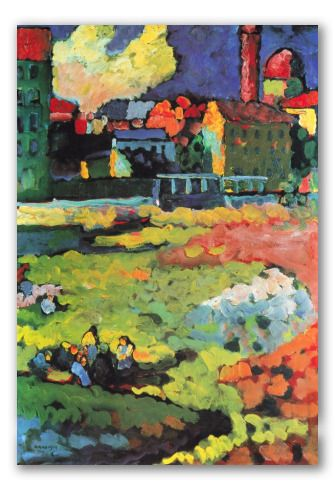 Munich, St. Ursula -  Kandinsky  Oil on linen lanvas.  100% hand-painted.  Painting reproduction.  Available for online purchase.    $97.90~ Croxgallery.com