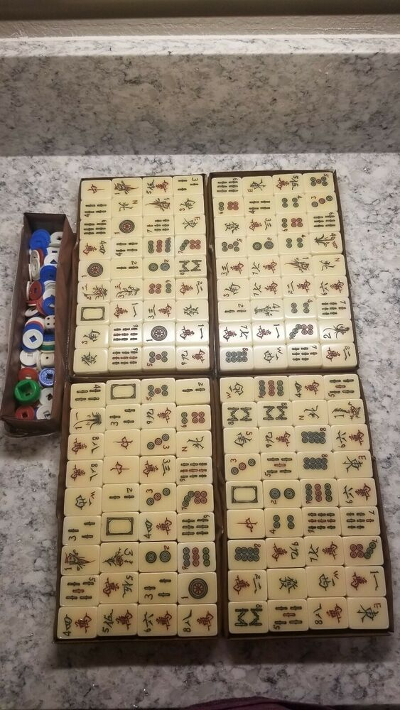 Vintage Mahjong Double Layer Set Chinese 144 And Tokens