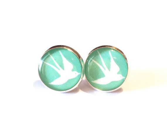 White Swallow on Turquoise  Resin Stud Silver by MyBlossomCouture