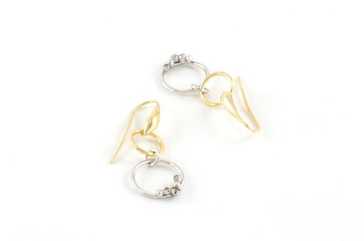 Shop on-line in www.eosbijoux.com orecchini in argento, silver earring, finitura oro e rodio bianco, zircon, fashion jewelry, orecchini pendenti, elegant jewel, dainty earrings