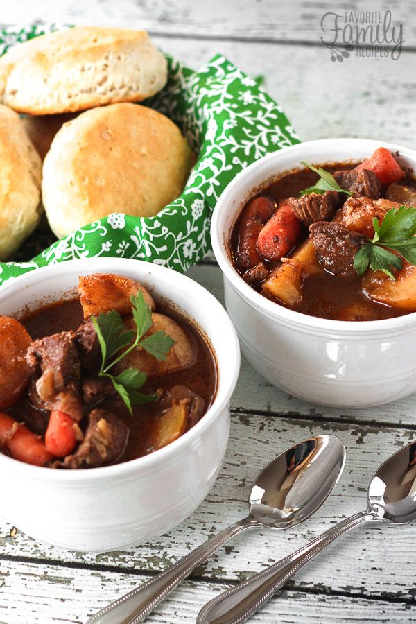Slow Cooker Irish Beef Stew is the ultimate comfort food. Big chunks of tender beef with potatoes and carrots in a thick, hearty gravy. SO good!
