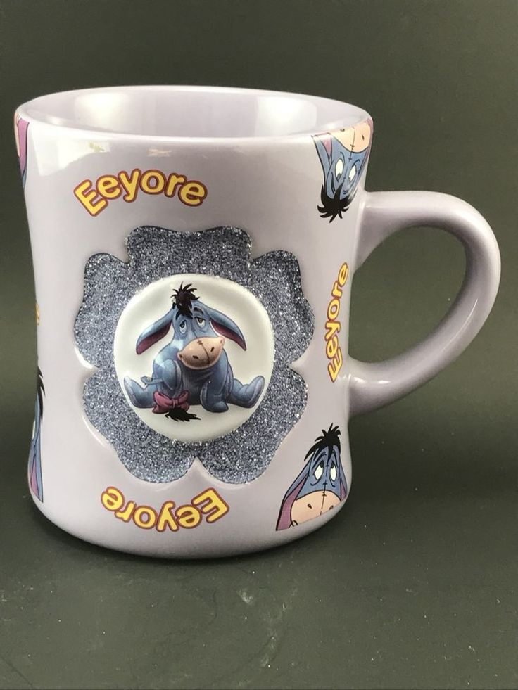 Disney Eeyore Purple 3D Design w/Glitter Coffee Mug/Cup -Winnie the Pooh Works  | eBay