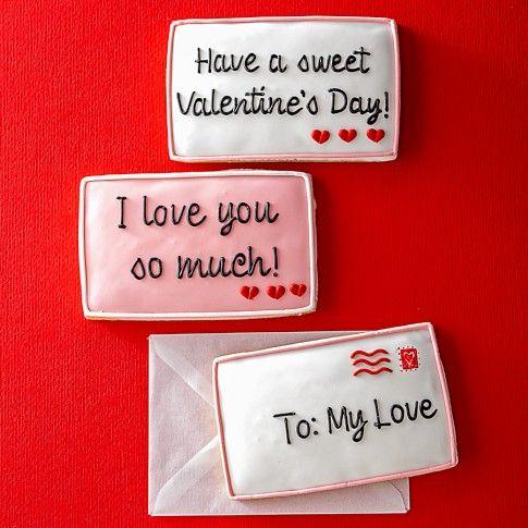 Valentine Envelope Message Cookies