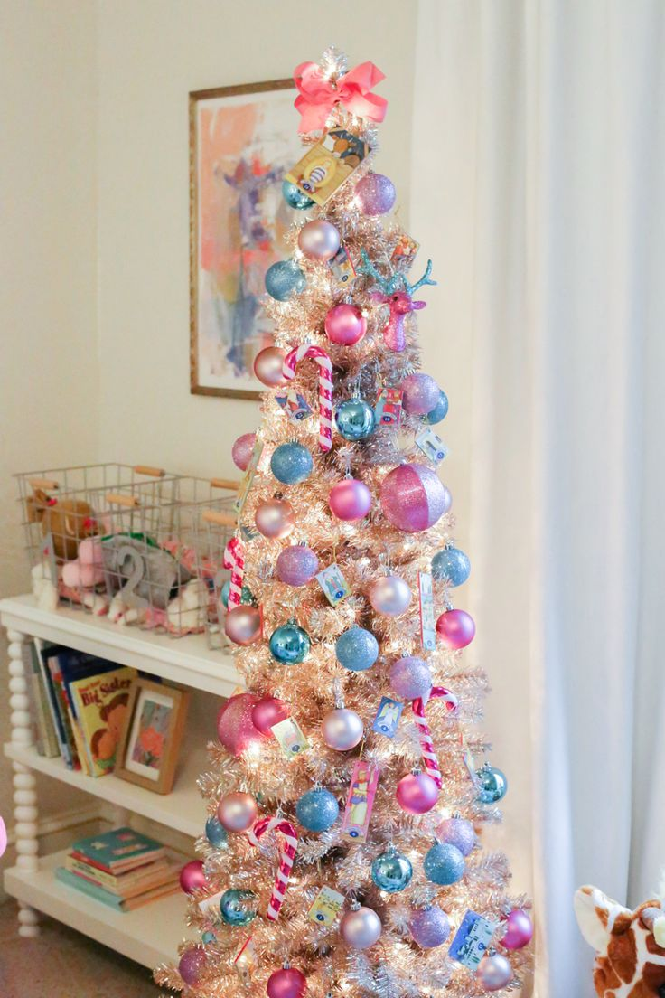 Blue and purple christmas decorations - Little Girls Colorful Christmas Tree