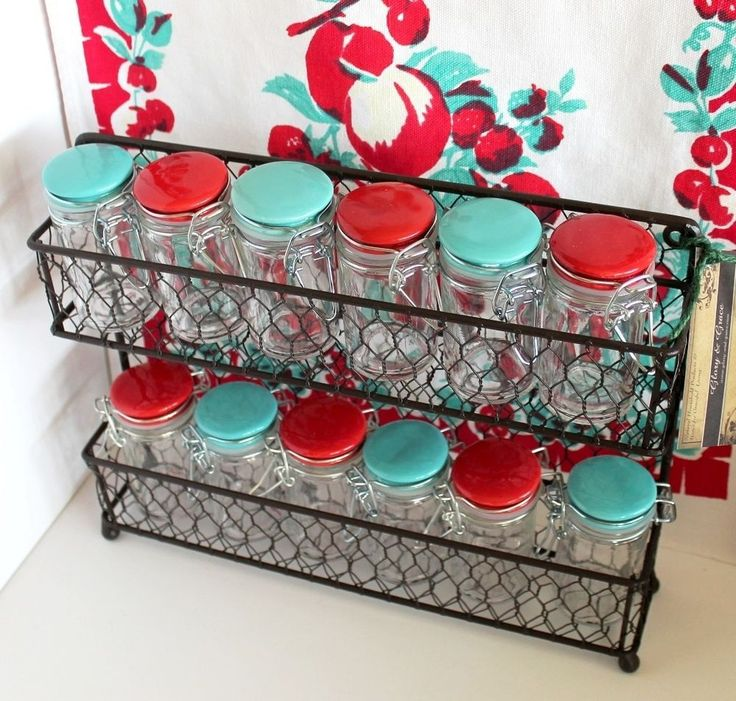 The color of the newly painted cabinet doors. Rustic Modern French Chic Wall / Counter Kitchen Spice Rack w 12 Aqua, Red Jars! #GloryGrace