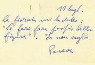 Biglietto di Cesare Pavese a Fernanda Pivano