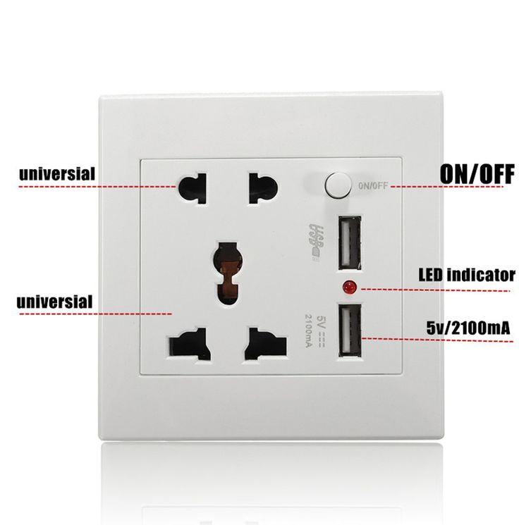 Universal 2.1A US UK EU Plug 2 USB Wall Sock Standard White Wall Electrical Faceplate Double Outlets USB Ports Switch For Phone