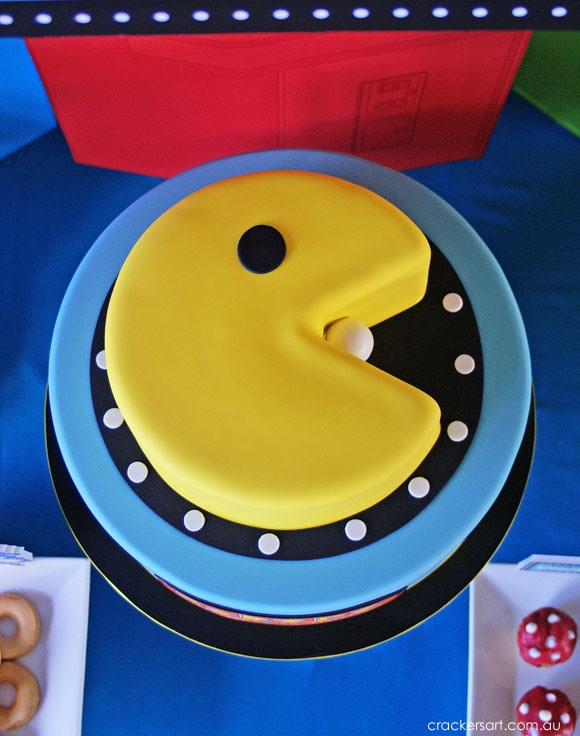 Awesome PAC-MAN cake for Arcade Birthday Party on Crackersart.com.au