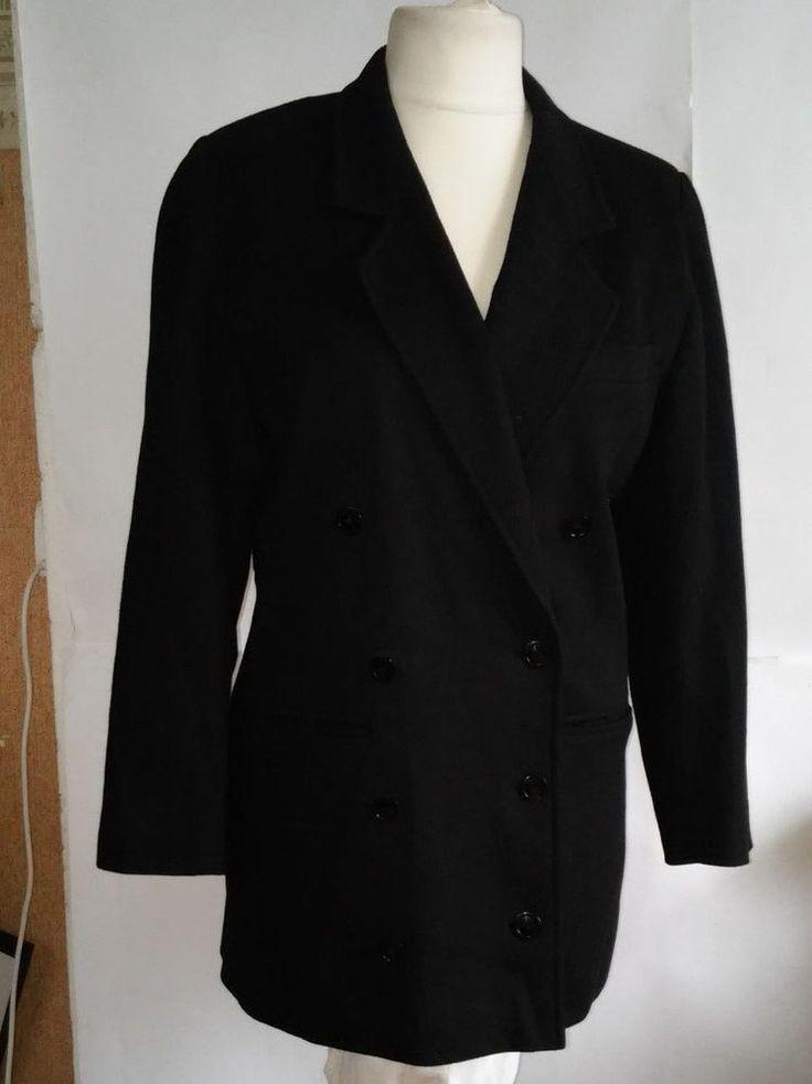 Escada by Margaretha Ley women Black Wool  Jacket Size 40 #EscadabyMargarethaLey #BasicJacket