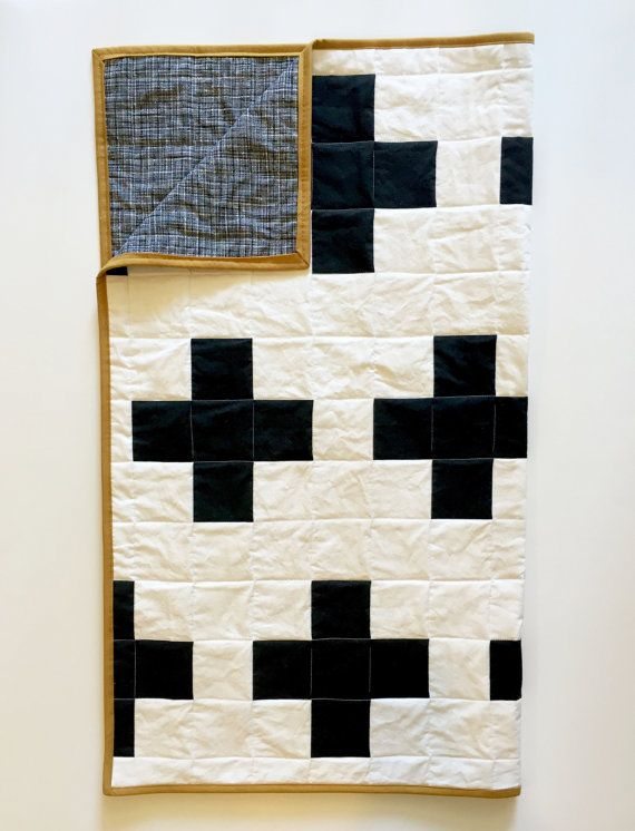 Black and white plus sign baby quilt - gold mustard swiss cross - monochromatic nursery monochrome - gender neutral baby shower gift