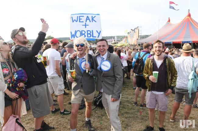British festival patrons attend at the Glastonbury Music Festival in Somerset, England on June 22, 2017. Photo by Rune Hellestad/UPI