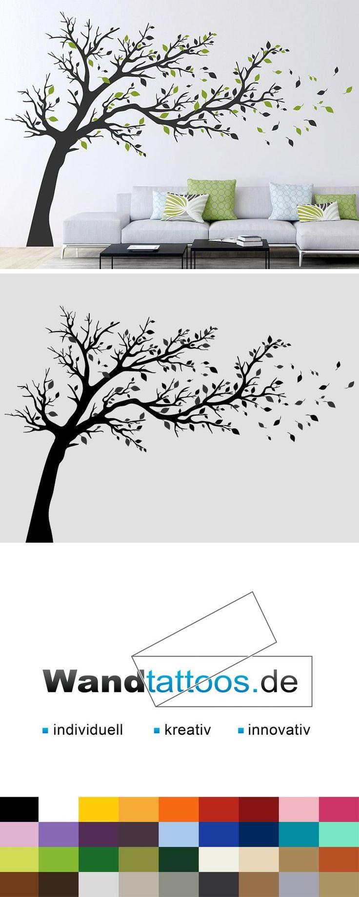 Wandtattoo Großer Baum im Wind  – Pflanzen Wandtattoos