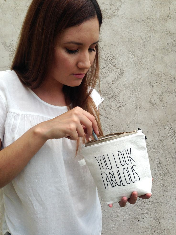 Personalized, fun makeup pouch. White, natural cosmetic bag with quote, text. Makeup brush case, organizer.