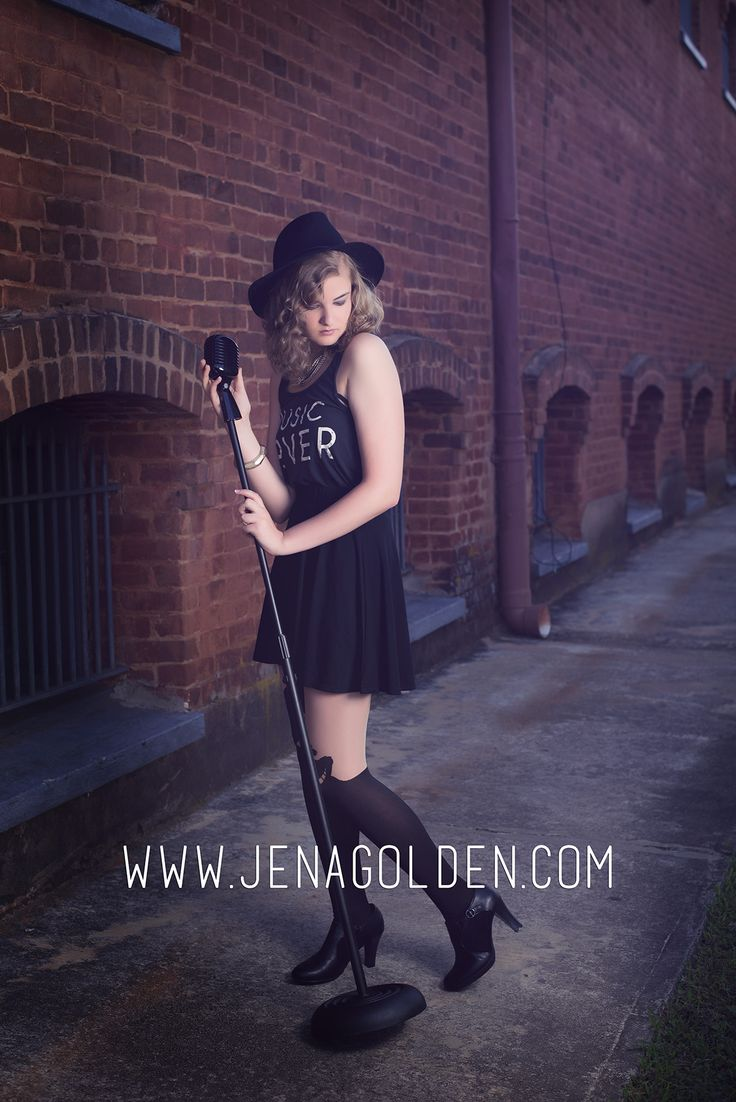 Rocker Senior Girl | Music Lover | Microphone | Downtown | Forsyth County Georgia Senior Pictures | Jena Golden Photography