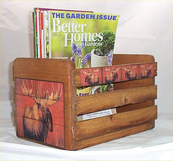 Moose Magazine Rack Holder Cabin Lodge Decor by houseandcraft