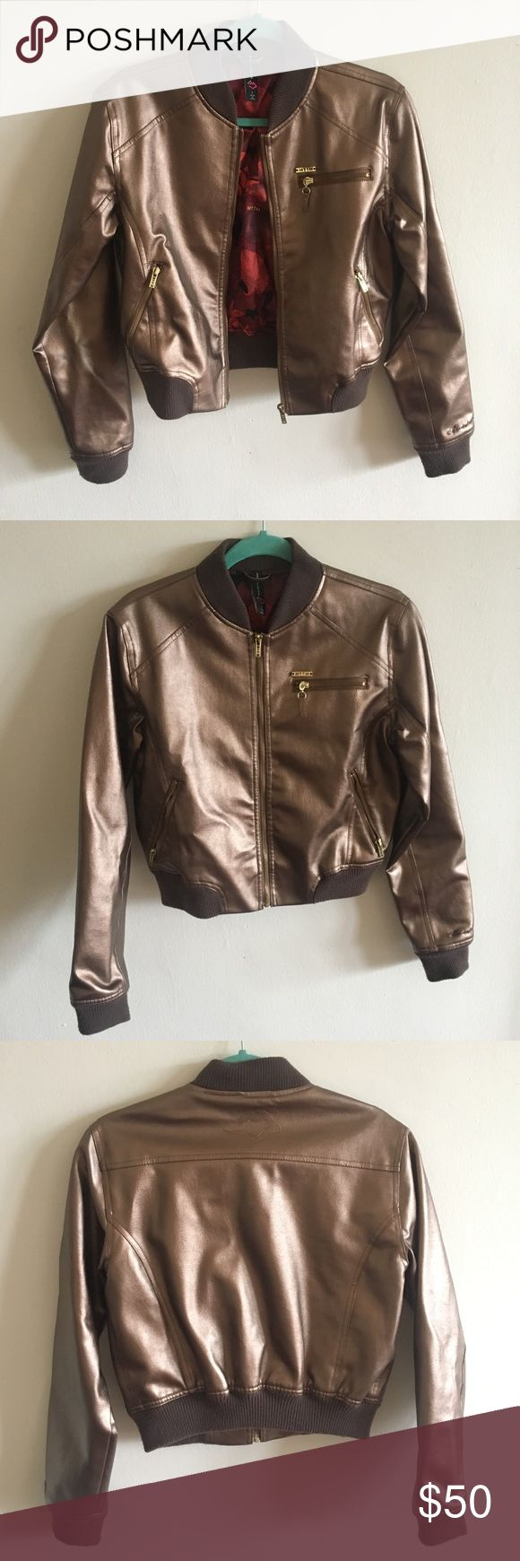 Married to the Mob-MTTM Gold/Bronze Leather Jacket Married to the Mob (MTTM) Bronze/Gold Leather Jacket, size large, fits like a medium, like new condition. Unique and gorgeous, but I never wear it! Married to the Mob Jackets & Coats