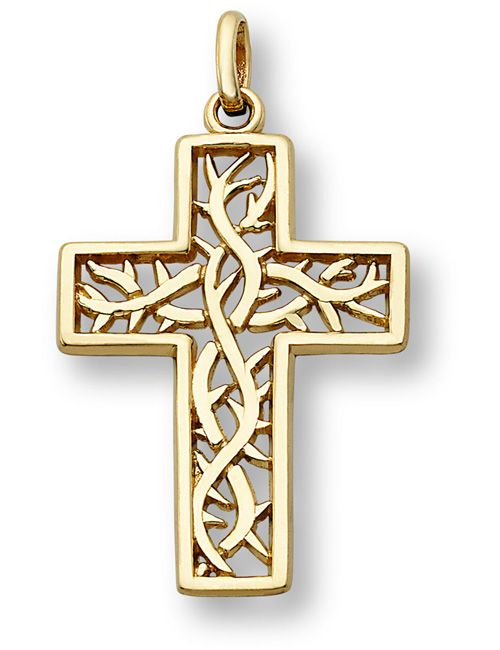 Crown of Thorns Cross Pendant, 14K Yellow Gold