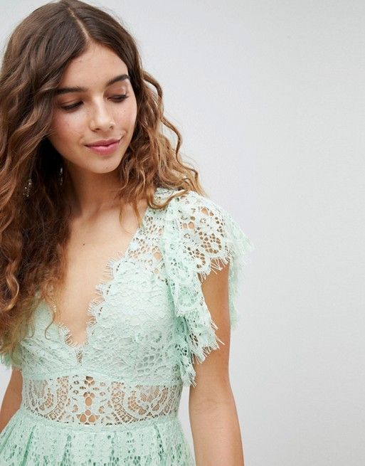 8b8727e258 DESIGN Lace Prom Midi Dress With Frill Sleeve in 2019