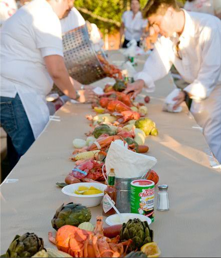 Butcher paper and feast of crab and lobster. Probably would be too messy, but soo good!