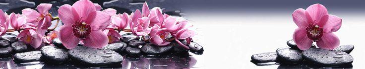 Скинали - Розовые орхидеи на камнях с отражением