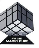 Newest Yuxin Mirror Cube 3x3 black and white with silver stickers, black and white with golden stickers, pink and blue
