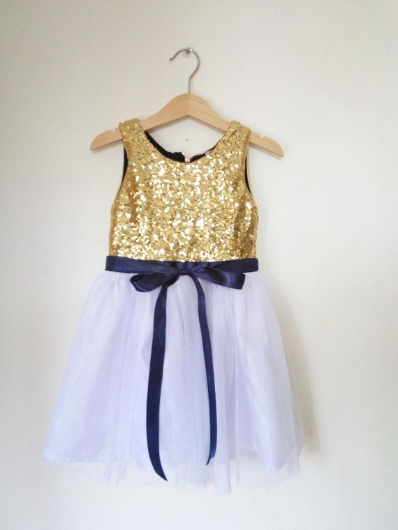 Gold White and navy flower girl's dress gold by DearMimiDress