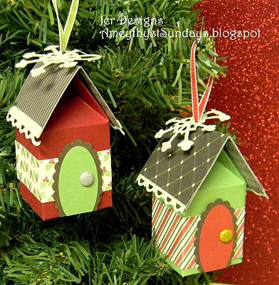 Christmas Houses with Milk Carton Die - would be cute gift card holder for the new home owner