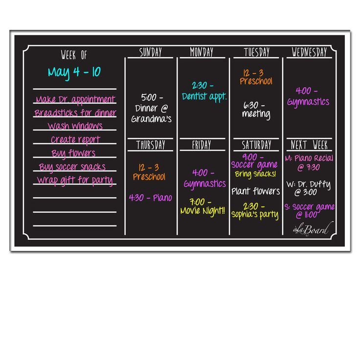 AlaBoard Black Fluorescent Dry Erase Weekly Calendar Magnetic Board (Black Fluorescent)
