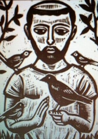 St Francis of Assisi woodcut