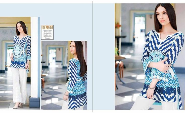 #Womens #Fashion #Pakistani #Designer #Suits #Haute #Couture for #work - #Blue #Shirt #White #Bottom #Embroidered #premium #lawn #Kurtis
