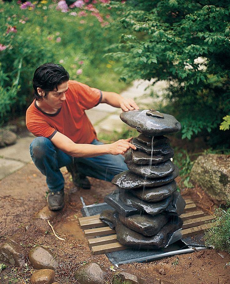 Cómo construir una fuente con cascada de piedras Garden pots - fuentes de cascada
