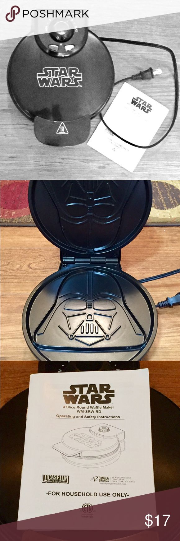 CHRISTMAS! New MOVIE!  STAR WARS waffle maker STAR WARS Darth Vader waffle maker.  Perhaps used 2-3 times.  Selling because I prefer my Belgium waffle maker for freezing.  Novelty, fun item for little boys (and big ones!). Girls enjoy it too :-).   Currently selling for $40 on Amazon.   Perfect timing for new Star Wars movie and Christmas!! Star Wars Other