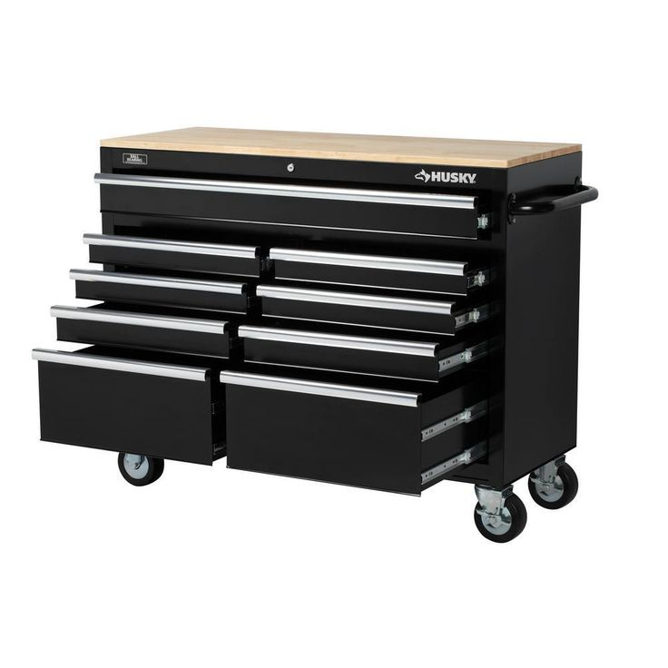 46 in. 9-Drawer Mobile Workbench Center All Welded Steel w/ Solid Wood Top Black #Husky