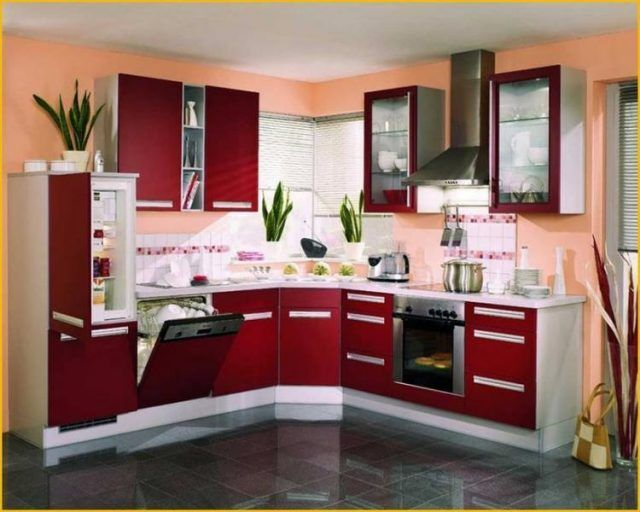 20 Exciting Red Themed Kitchen Designs Ideas Red Kitchen Cabinets Kitchen Design Small Kitchen Design