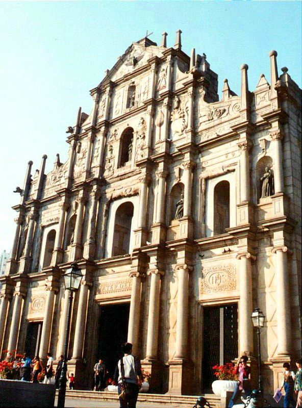 De facade of St Paul's Cathedral (constructed in 1580, completed in 1637) in Macau (Sam Ba Sing Tzik)