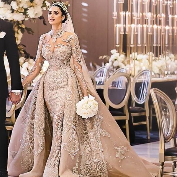 High Neck Arabic Luxury Mermaid Wedding With Train Wedding Dresses Beautiful Wedding Gowns Bridal Dresses