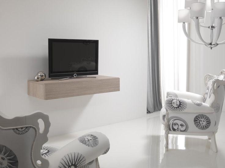 Composizione 2050 tavolo estraibile a cassetto scomparsa foto chiuso con sopra televisore