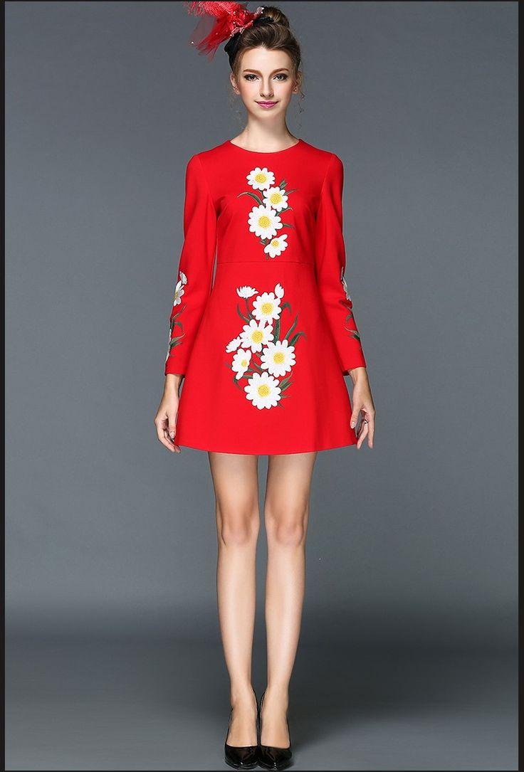 S- 5xl est Elegant Embroidery A-line Dress Long Sleeve Autumn Short Mini Vestidos De Fiesta – artifashion.net