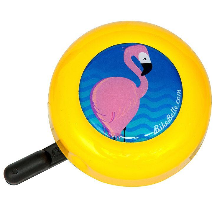 Lovely Flamingo Bike Bell   Yellow