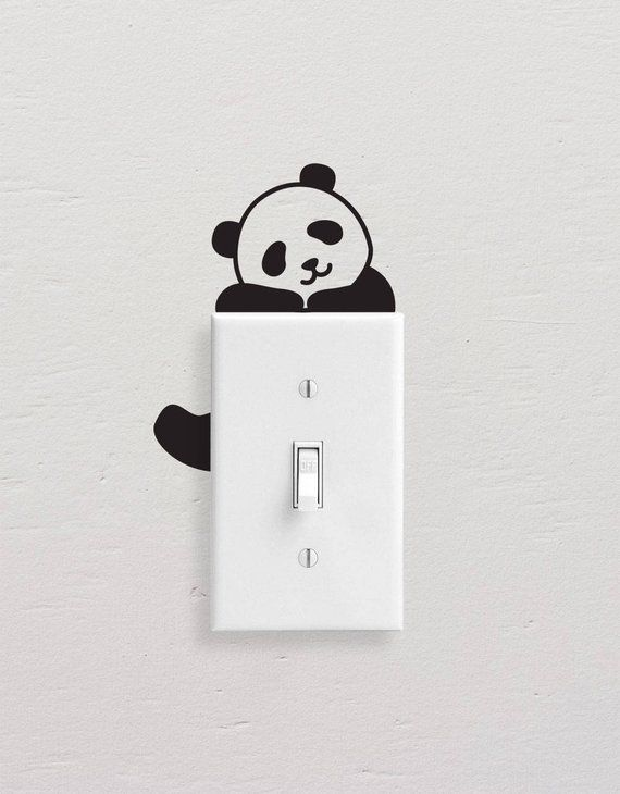 Panda Wall Decals Panda Light Switch Decal Simple Panda Vinyl Wall