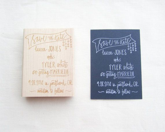 Save the Date Stamp  Custom hand lettered banner by papersushi, $60.00