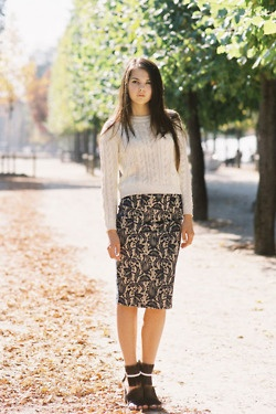 brocade pencil skirt, cable knit sweater