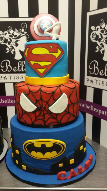 Do your kids love all the Marvel Superheroes? Why not include them all onto one cake? - by Belle's Patisserie