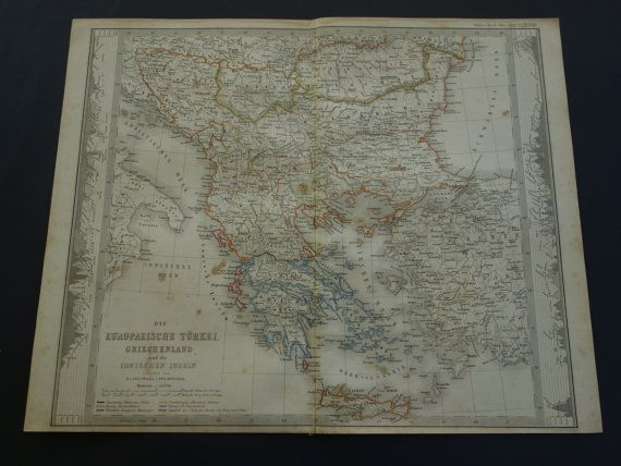 BALKANS antique map  1858 large hand-colored by DecorativePrints