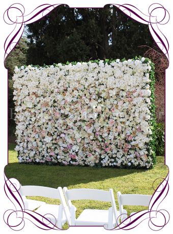 Melbourne flower wall in ivory and pastel tones, flower wall hire melbourne